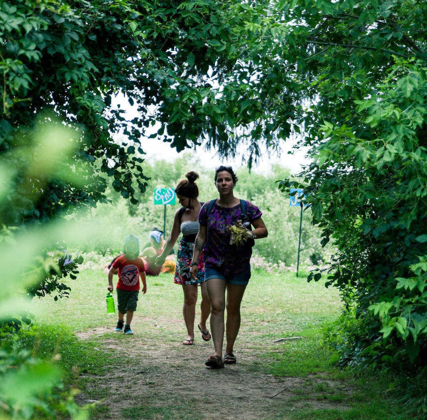 people walking through trees