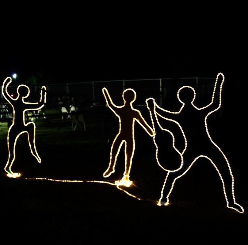 Dancing figures made of lights
