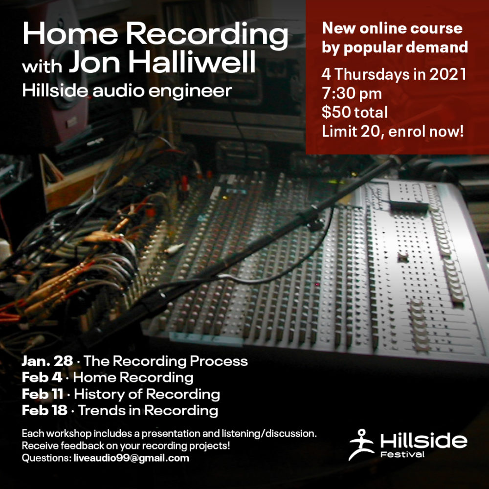 Home recording course with Jon Halliwell. 4 Thursdays from January 28th to February 18th, $50
