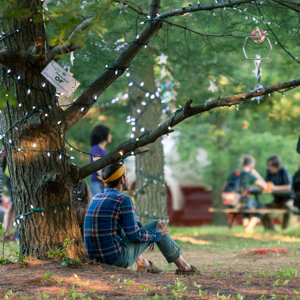 Person sitting under tree at Hillside