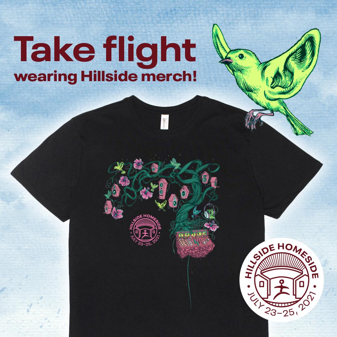 Take flight wearing Hillside merch